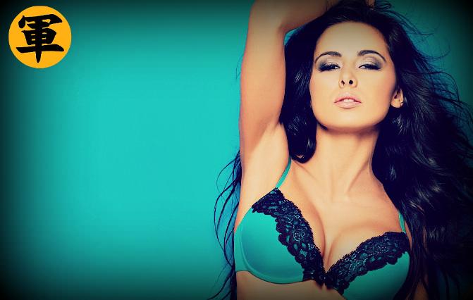 Posing in blue bra